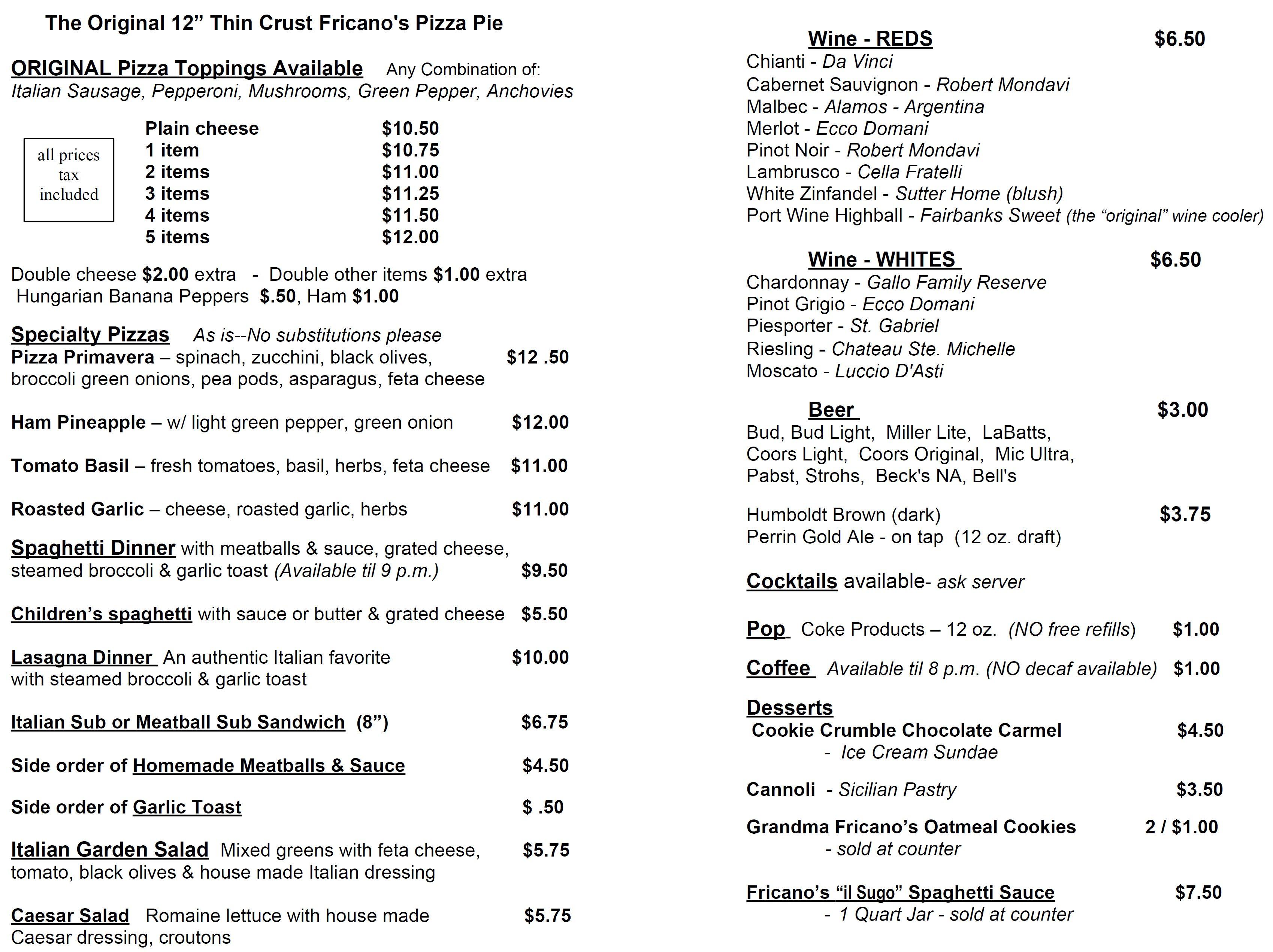 menu for fricano u0027s pizza restaurant in comstock park michigan
